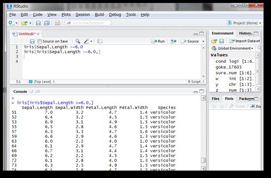 「iris$Sepal.Length >= 6.0」というコードそのものが理論値ベクトルを出力するので、これをそのままiris[○○,]の○○の部分に記述します。