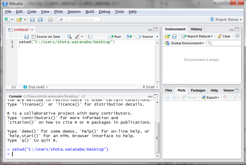 setwd()関数という関数を使います。