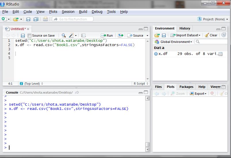 read.csv()関数という関数を使い、引数にファイル名を指定します。