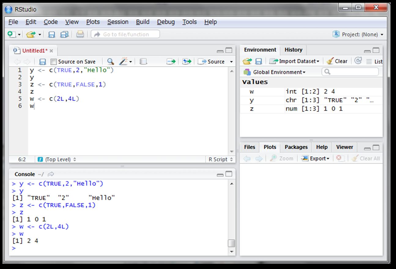 1行目では変数yに、理論値のTRUE、実数の2、文字列のHelloをベクトルとして代入しています。